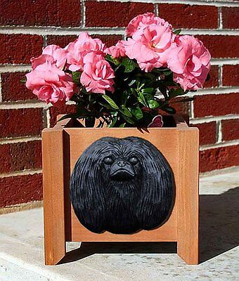 Pekingese Planter Flower Pot Black