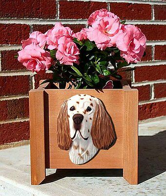 English Setter Planter Flower Pot Liver Belton