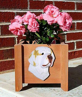 Clumber Spaniel Planter Flower Pot Lemon