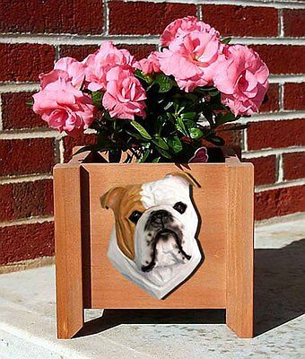 Bulldog Planter Flower Pot Tan