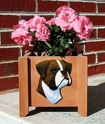 Boxer Planter Flower Pot Brindle Uncropped
