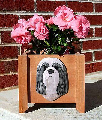 Bearded Collie Planter Flower Pot Blue White