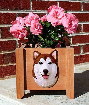 Alaskan Malamute Planter Flower Pot Red White