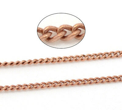 10M Copper Tone Link-Soldered Curb Chains For Necklace Making DIY 1x1.5mm