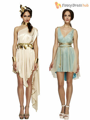 Ladies Fever Greek Roman Grecian Goddess Toga Fancy Dress Costume Womens Outfit