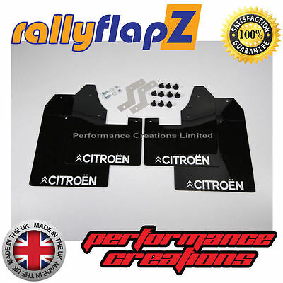 rallyflapZ CITROEN C2 Mud Flaps & Fixing Kit - Black CITROEN Logo White 4mm PVC