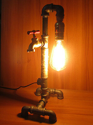 Vintage Industrial Retro Style Iron Pipe Desk Table Lamp Light Edison Light Bulb