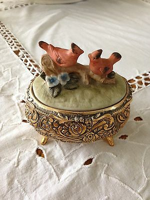 Vintage Music box, Made in Japan with Red birds on top
