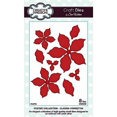 Sue Wilson Creative Expressions Festive Classic Poinsettia Christmas Die Ced3008