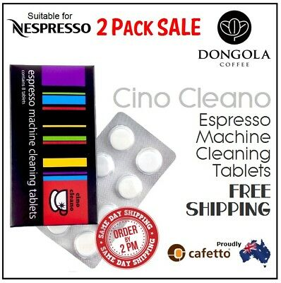 2PK NESPRESSO Espresso Coffee Machine Cleaning Tablets Cafetto Cino Cleano