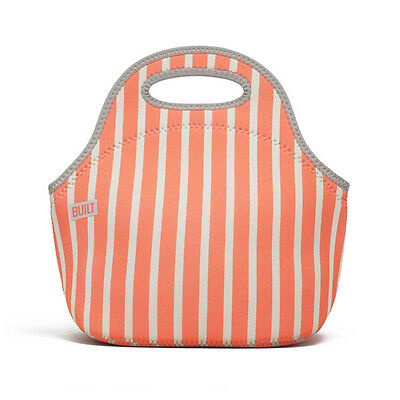 Built NY Neon Stripe Coral Gourmet Getaway Lunch Tote