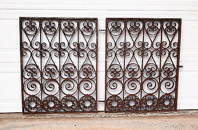 Pair Of Antique Forged Wrought Iron Gates Or Grills Hawaii International Market