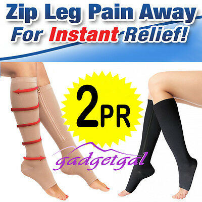 Two Pair ZIP ZIPPERED COMPRESSION SOCKS Varicose Veins Flight & Travel Miracle