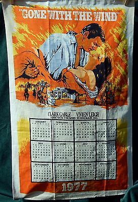 Gone With The Wind Linen Hanging Calendar 1977 Cotton Tea Towel Tapestry MGM