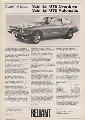 Reliant Scimitar GTE 1976-77 UK Market Specification Leaflet Brochure