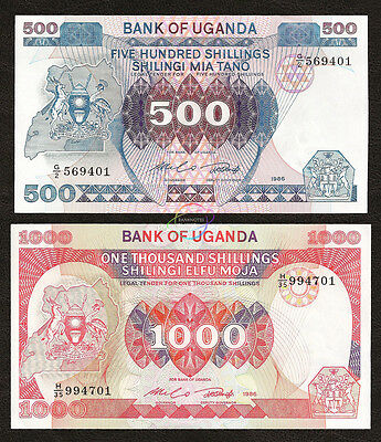 UGANDA 500 1000 Shillings Set 2 PCS, 1986, P-25 26, UNC