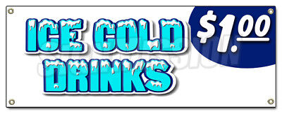 ICE COLD DRINKS $1.00 BANNER SIGN iced extra large soda thirst quencher