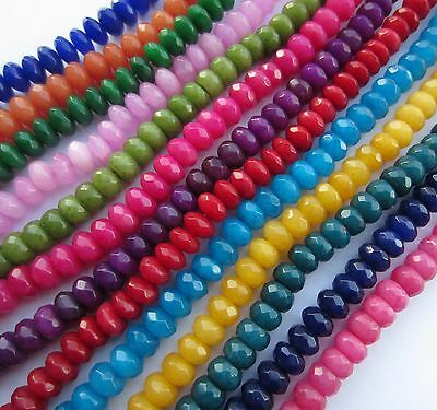 """Jade faceted abacus / rondelle 8x5mm dyed beads.15"""" strand (~75 beads) SP104"""