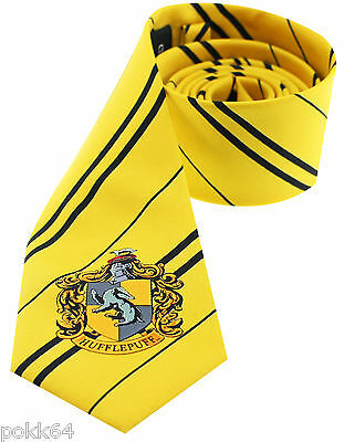 HARRY POTTER Cravate Poutsouffle jaune emblème Hufflepuff 100% microfibre-