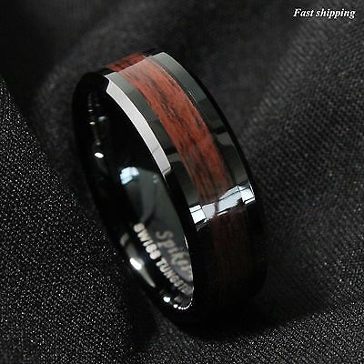 8mm Men's Tungsten Carbide ring Red Wood Inlay Black Plat Wedding Band Size 6-13