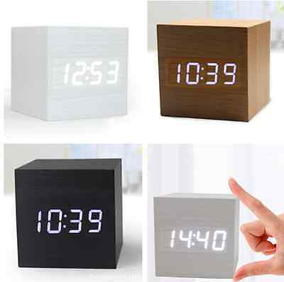 Voice Operated Cube Square Wooden Digital LED Desk Alarm Clock with Thermometer