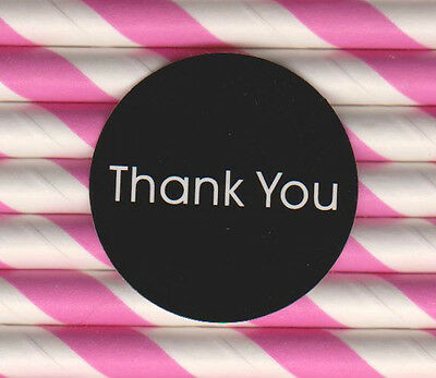 Thank You stickers  Black Glossy Self-adhesive label x 10