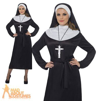 LADIES NUN COSTUME HOLY SISTER FANCY DRESS HEADPIECE AND COLLAR FITS UK 10//22