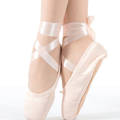 Adult Girls Women Professional Satin Ballet Dance Pointe Shoes with Leather Toe