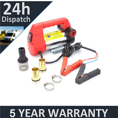 12V Portable Electric Fuel Diesel Water Fluids Transfer Pump Clip On Battery