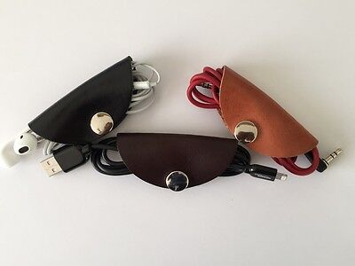 Genuine Real Leather Wire Organiser Cable Holder Cord Wrap Taco Made in the UK