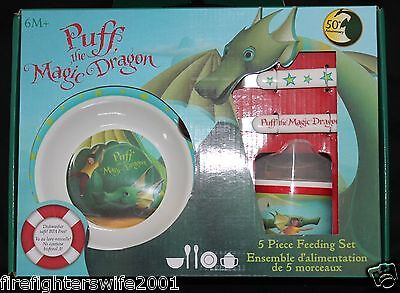 Puff the Magic Dragon 5 piece feeding set melamine plate bowl cup utensils new