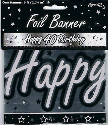 AGE 40th FOIL BIRTHDAY BANNER BLACK & SILVER 9FT