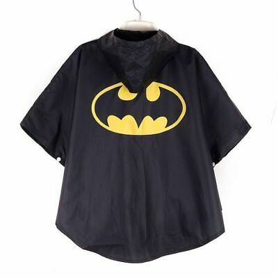 Kids SuperHero Batman Poncho Raincoat Hoodie Cape with Carry Bag 3-8 FUN School