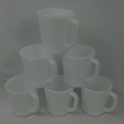 Lot of 6 Fire King Anchor Hocking Heavy Ivory D-Handle Mugs Cups