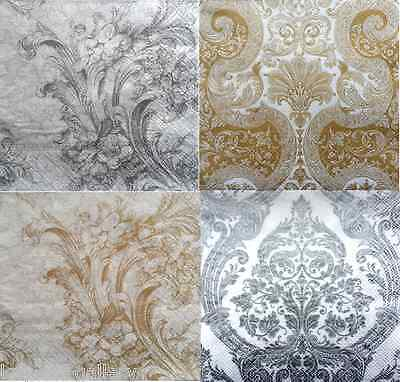 4 x Single Vintage Table Paper Napkins / Craft/  Party / for Decoupage /Ceremony