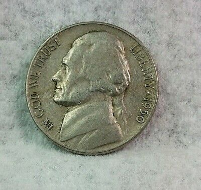 1950 P Jefferson Nickel, Key Date, Circulated, Mintage of only 9.8 Mil. Nice!