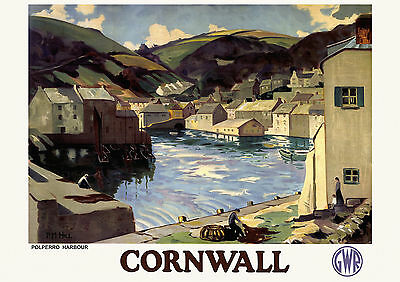 Cornwall - Polperro Harbour GWR - railway - Old, Vintage  travel poster repro