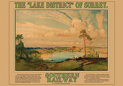 Lake District of Surrey -Railway  Old, Vintage  travel poster repro