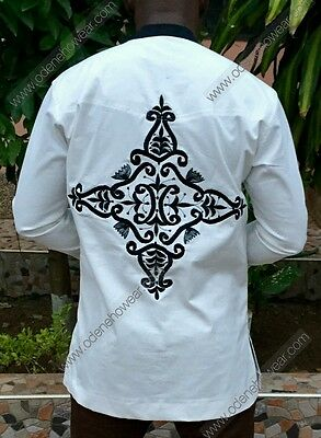Odeneho Wear Men's White Polished Cotton Top/ Embroidery. African Clothing.