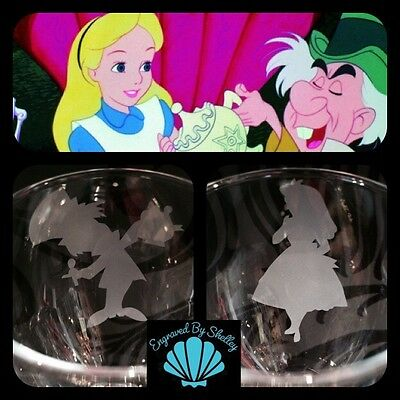 Personalised Disney Alice In Wonderland & Mad Hatter Wedding Wine Glasses Gift
