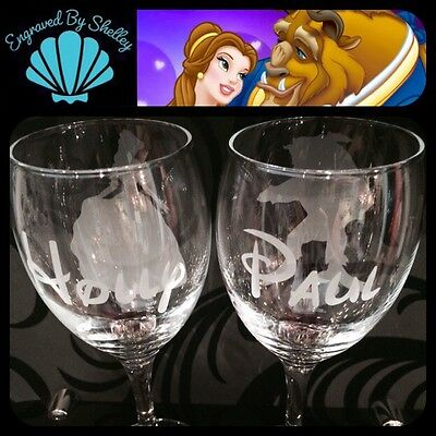 Personalised Disney Beauty & The Beast Wine Glasses! Handmade Wedding Gift!