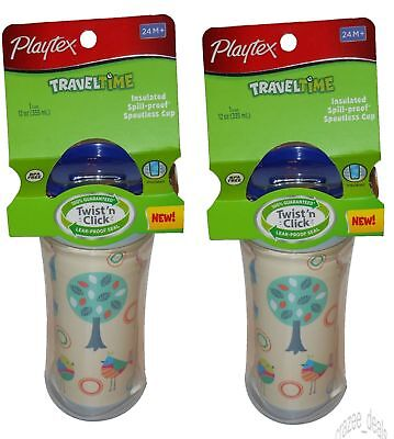 Lot Of 2 Playtex Travel Time Spoutless Cup Spill-Proof BPA Free For Girls NEW