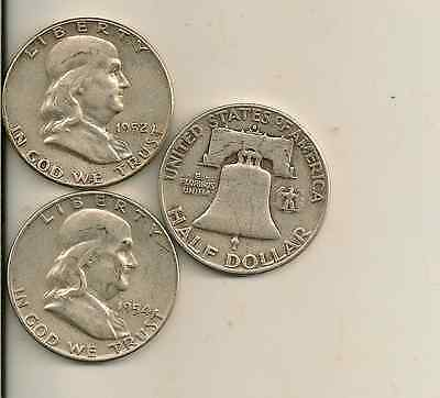 Silver Franklin silver half dollar lot of 3 (you get all 3 coins) $1.50 face