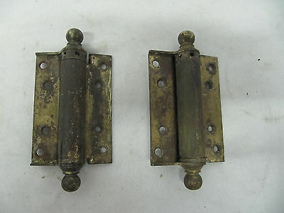 Vintage Steel Adjustable Spring Loaded Self Closing Hinges Ball Finial