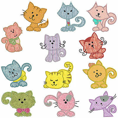 ** CATS ** Machine Applique Embroidery Patterns ** 12 Designs
