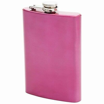 New 8 oz FLASK Hot Pink Stainless Steel Hip Pocket Screw Cap Liquor Bachelorette