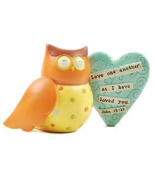 Blossom Bucket Resin Owl Figurine LOVE ONE ANOTHER Primitive Country ...