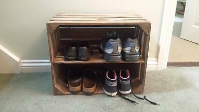 Shoe Rack - European Vintage Wooden Apple Box Fruit Crate Rustic Shabby Chic