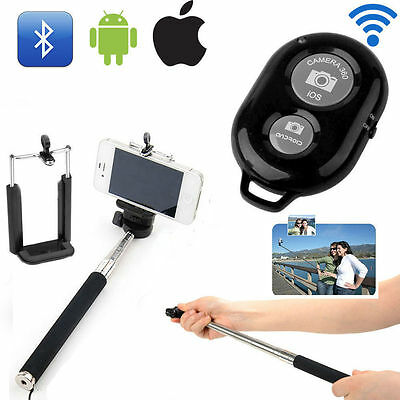 Monopod Selfie Stick Telescopic + Bluetooth Remote Wireless +Mobile Phone Holder