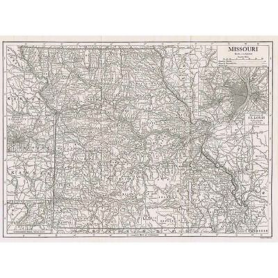 MISSOURI State Map w/insets of St Louis and Kansas City - Antique Map 1910